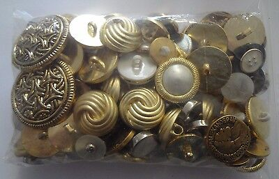 Vintage button Lot Craft Sewing Supplies Gold tone 1990 1980 plastic