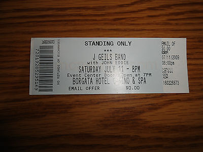 Unused - J Geils Band -  Concert Ticket  - Borgata Casino - Ec