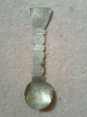 An elegant old African spoon in brass, africa Maybe ashanti? Not gold weight