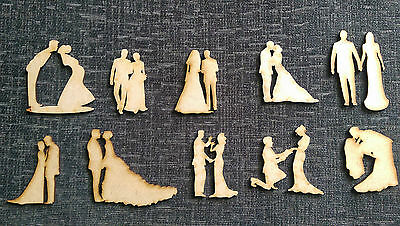 Wooden MDF Wedding Figures Embellishments Craft  Cards Table Decorations ,