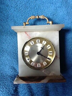Mantle Clock Onyx Antique Style Roman Numerals Battery Operated