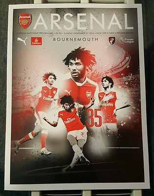 Arsenal v Bournemouth. Premier League Official Matchday Programme