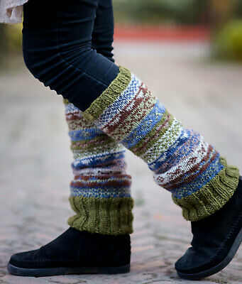 Olive Green and light Blue Multicolored Pure Woolen Legwarmers