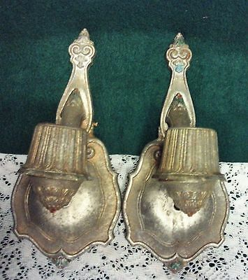 Pair Antique Vintage Riddle Wall Sconces Light Cast Aluminum Steampunk