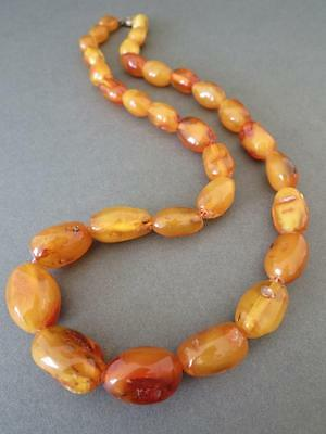 Vintage Baltic Butterscotch Egg Yolk Amber Bead Necklace