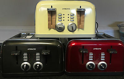 4 Slice Toaster in Different Colours Black,Red,Yellow,White,