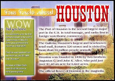 Novelty -Fun Facts About Houston - Texas - Unposted