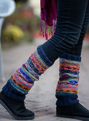 Dark Blue Mixed Color Pure Wool Legwarmers