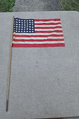 vintage WWII era US Flag 48 star parade flag with wood pole