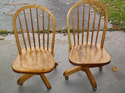 Vintage Pair of Wood Swivel Rolling Office Desk Chairs