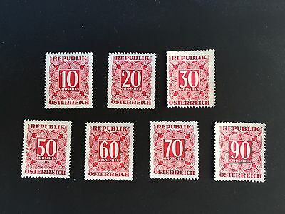 1949 to 57 Austria red Postage Due mint stamps