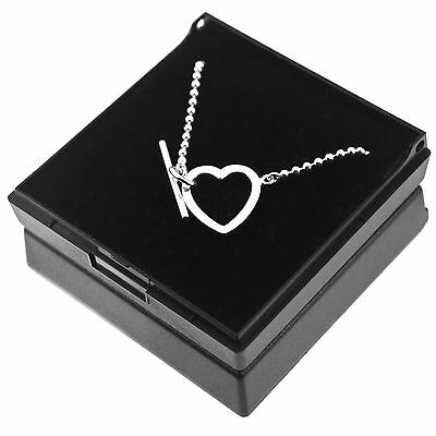 Genuine 925 Sterling Silver Toggle T Bar Heart Ball Bead Chain Bracelet Gift Box