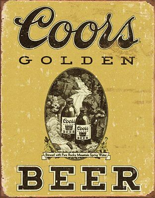 """COORS Golden Vintage Tin Beer Sign , 12"""" x 16"""", New, Décor, Style, Free Shipping"""