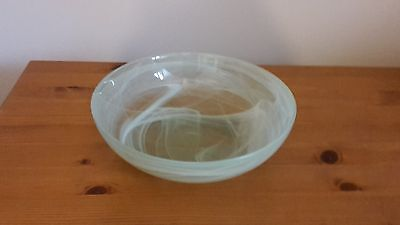 Shallow Pale Green Frosted Swirl/marbled Effect Bowl - Used