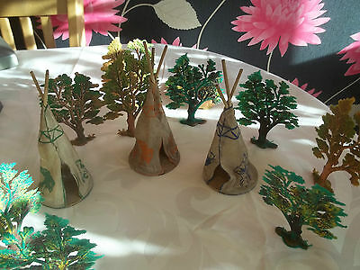 Wild West Indian Village Teepees x 3 And 12 Trees