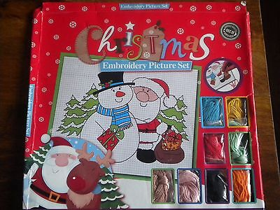 Childrens Kids Christmas embroidery picture set cross stitch