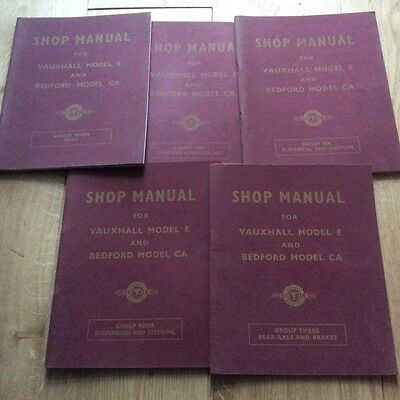 Bedford CA & Vauxhall E Series Shop Manuals original 50s collection early models