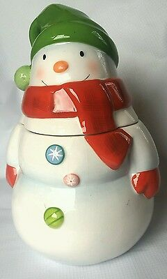 hallmark snowman with hat scarf gloves and buttons cookie jar