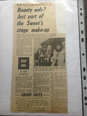 THE SWEET  - Brian Connolly Newspaper Article No 1 Good CONDITION!