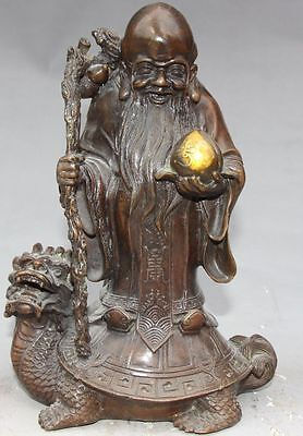 "9"" Bronze Gilt longevity God Hold Crosier peach Stand Dragon Tortoise Statue"