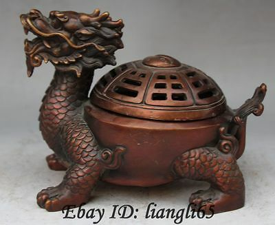 Chinese Folk Pure Bronze Fengshui Dragon tortoise Turtle Incense Burner incensor
