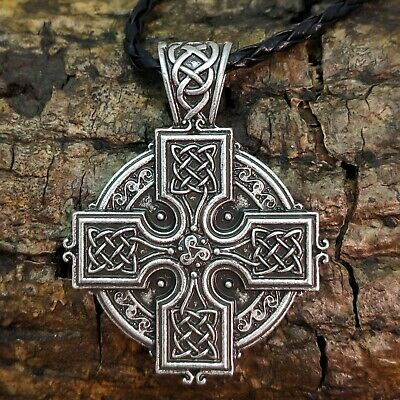Antique Silver Celtic Cross Pendant Necklace On Braided Black Cord Viking