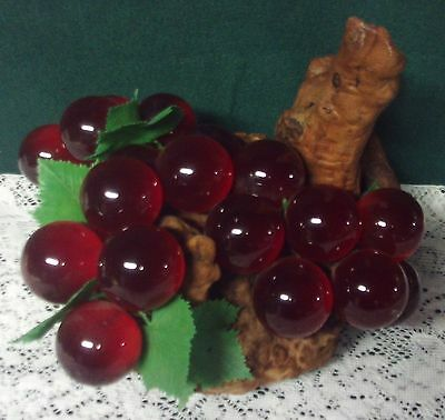 Vintage Retro Mid-Century Red Lucite Glass Grape Cluster Driftwood Stem