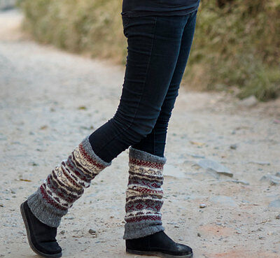 Gray Red Mixed Multicolored Pure Wool Legwarmers