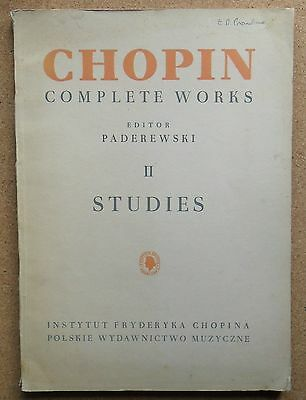 CHOPIN COMPLETE WORKS II STUDIES FOR PIANO PADEREWSKI 9th EDITION