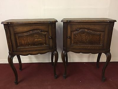 Outstanding Pair Of Quality French Oak Bedside Cabinets