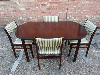 Vintage solid mahogany dining table with set of 4x upholstered dining chairs