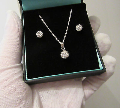 Sterling Silver Matching Pendant Necklace & Earrings ~ Boxed Ideal Gift