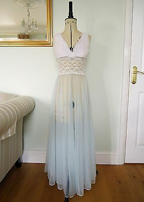 Vintage,1950's White and Ice Blue Sheer Nylon and Lace Night Dress Size S