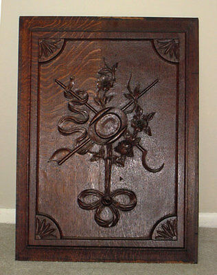Antique Oak CARVED HARVEST PANEL W/ RIBBONS HAT, TOOLS FLOWERS *large**