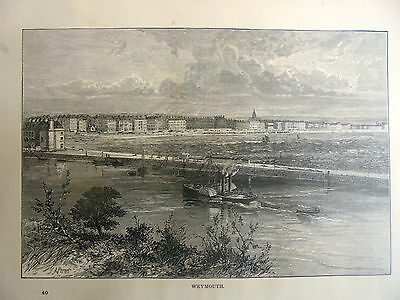 genuine 1880/90 print,of weymouth[approx 10x7 inches]