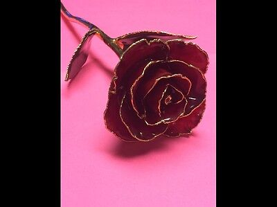 24k GOLD DIPPED REAL ROSE,HAND PAINTED COLOR-RED