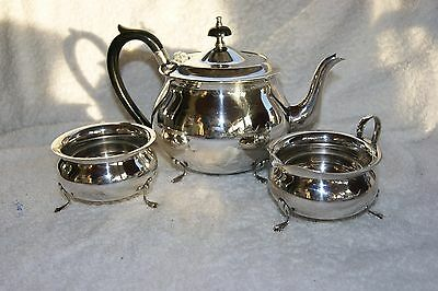 VINTAGE SILVER PLATED YEOMAN PLATE EPNS ~ 3 pc  FOOTED TEA  SET MADE IN ENGLAND