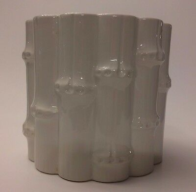 Rubel Pottery Ivory Bamboo Planter/Vase Made in Portugal