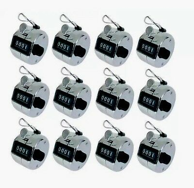 12 x CHROME MECHANICAL PALM CLICK CLICKER 4 DIGIT HAND TALLY NUMBER COUNTER UK