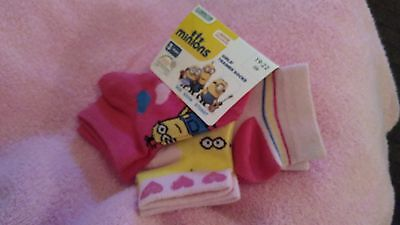 3 x New girls trainer socks minions, despicable me  euro size 23 - 26 pink
