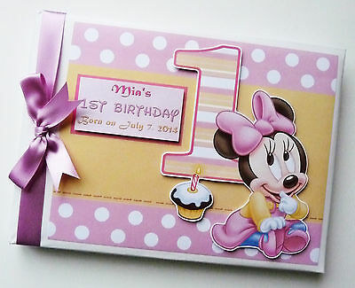 Personalised Baby Minnie First/1St Birthday Guest Book Any Design