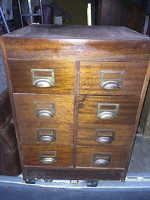 Vintage Bank Of Drawers x8 Wooden Filing Solicitors Library Storage 20th Century