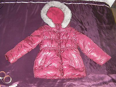 E-vie Angel Fur Lined Hooded Jacket Red With Spots Age 6 years