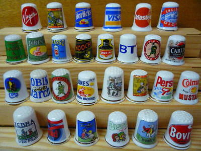 28 Thimbles Collection Lot Advertising Brand Advert China Thimbles