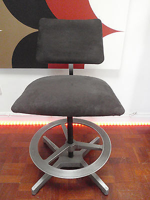 Vintage Industrial Architect's Draughtsman's Stool Aluminium with Conran Fabric
