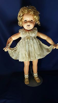 Vintage Ideal Shirley Temple RARE 27 inch Composition Tagged Dress all Original