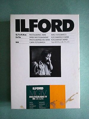 "Ilford B&w Photo Paper 5 X 7""-Multigrade Iv Rc Deluxe Satin-Part Used"