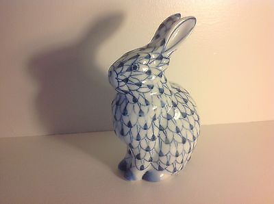 Antique/Vintage Blue & White BUNNY/RABBIT Porcelain Figurine-Hand Painted