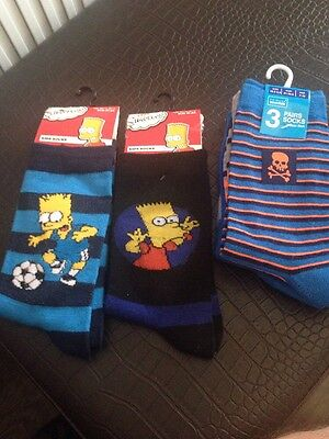 Simpsons Socks x2 and 3 Pair Primark Socks Age 7-10