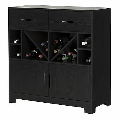 South Shore Furniture Vietti Bar Cabinet with Bottle Storage and Drawers, Black